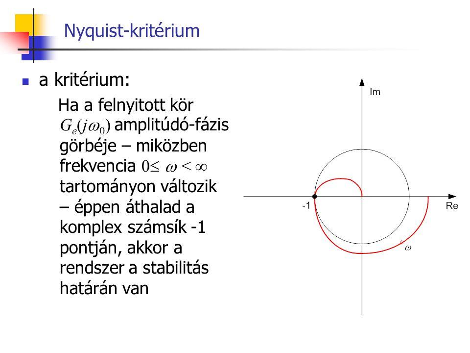 Nyquist-kritérium a kritérium: Ha a felnyitott kör G e (j  0 ) amplitúdó-fázis görbéje – miközben frekvencia 0   <  tartományon változik – éppen á