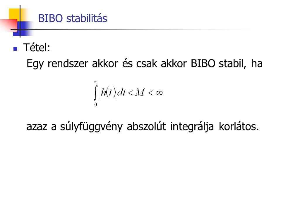 Stabilitás - összehasonlítás BIBO stabilitás: korlátos bemenetre korlátos válasz Aszimptotikus stabilitás: nulla bemenetre nullához tartó kimenet ugrás jel bemenetre az erősítés által meghatározott végértékhez tartó válasz  Aszimptotikusan stabil rendszer  BIBO stabil is BIBO stabil rendszer nem feltétlenül aszimptotikusan stabil