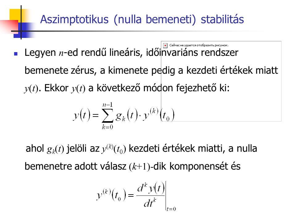Aszimptotikus (nulla bemeneti) stabilitás Def.: Egy lineáris időinvariáns rendszert tetszőleges, nem minden esetben zérus kezdeti feltételek esetén nullabemeneti stabilitásúnak nevezzük, ha megválasztható egy M korlát  M ( y(t 0 ), y (1) (t 0 ),…, y (n-1) (t 0 ) ) > 0, úgy, hogy  y(t)   M < ,  t  t 0 és