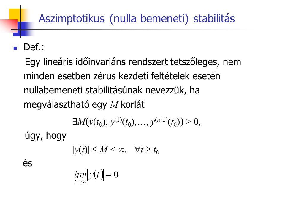 Aszimptotikus (nulla bemeneti) stabilitás Magyarázat: Ha egy rendszerben konstans nulla bemenet és adott, legalább egy esetben nemzérus kezdeti feltételek esetén a kimenet nullához tart tetszőlegesen nagy idő eltelte után, akkor ezt a rendszert nulla bemeneti stabilitásúnak (vagy aszimptotikusan stabilnak) nevezzük.