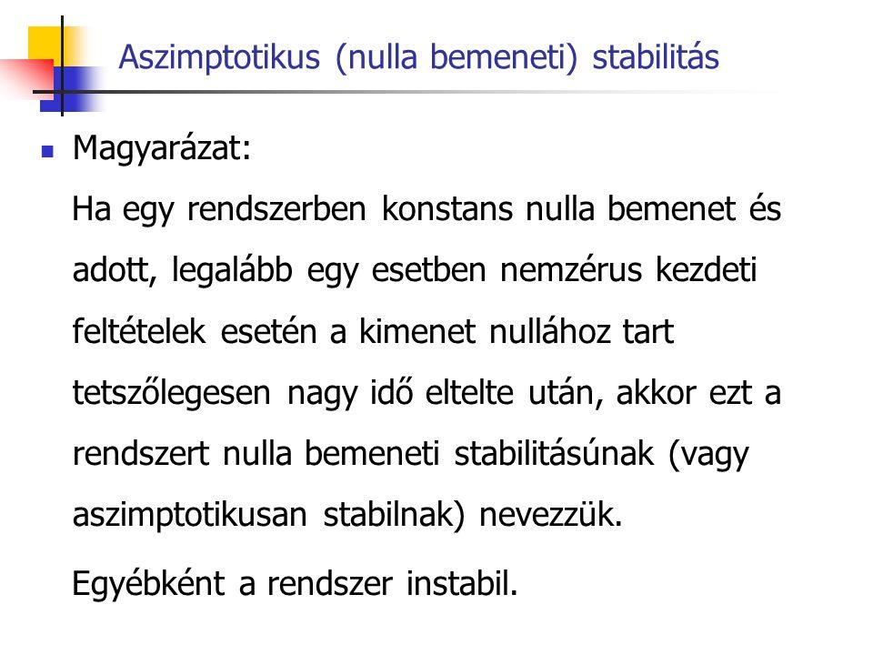 Aszimptotikus (nulla bemeneti) stabilitás a stabilitás feltétele mivel a kezdeti feltételek végesek y(t 0 ), y (1) (t 0 ),…, y (n-1) (t 0 ) < 