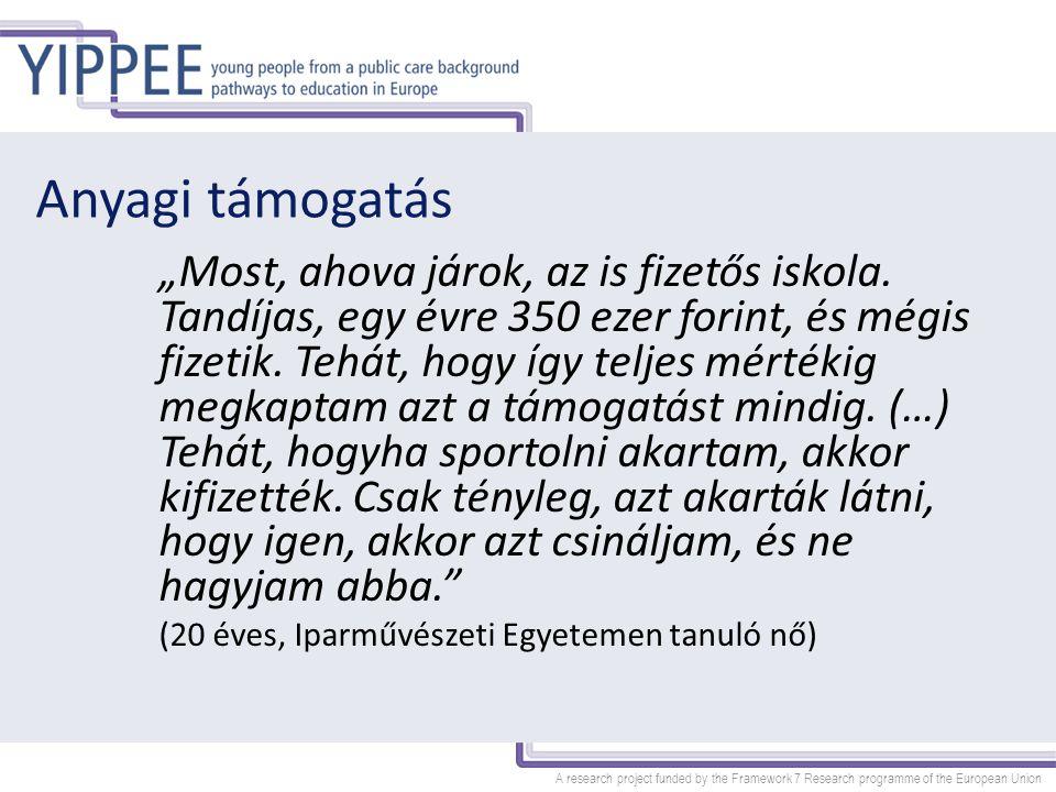 """A research project funded by the Framework 7 Research programme of the European Union Anyagi támogatás """"Most, ahova járok, az is fizetős iskola. Tandí"""