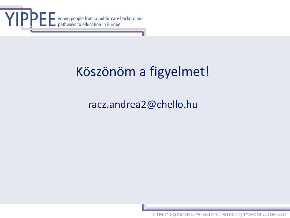 A research project funded by the Framework 7 Research programme of the European Union Köszönöm a figyelmet! racz.andrea2@chello.hu