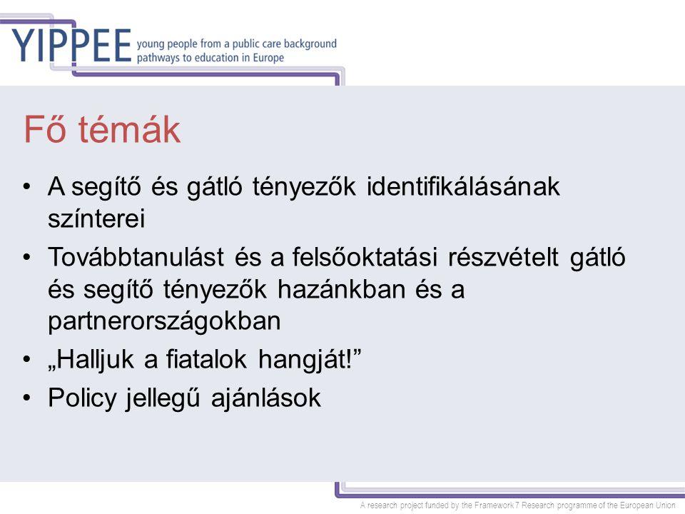 A research project funded by the Framework 7 Research programme of the European Union A segítő és gátló tényezők identifikálásának színterei 1)Individuális szint 2)Családi kapcsolatok szintje 3)Iskola szintje 4)Gyermekvédelmi / jóléti rendszer szintje 5)Közpolitika szintje