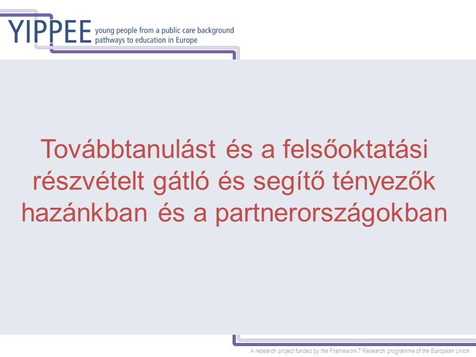 A research project funded by the Framework 7 Research programme of the European Union Policy jellegű ajánlások Stabil gondozási hely biztosítása Iskolai teljesítmény dokumentálása, iskolai előmenetel tervezett segítése, tudatos pályaválasztás előkészítése Piacképes szakmák tanulásának támogatása Pszichoszociális támogatás nyújtása Tehetséggondozó, felzárkóztató programok Önálló életkezdéshez szükséges támogatási rendszer