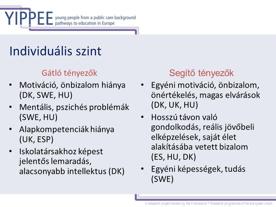 A research project funded by the Framework 7 Research programme of the European Union Családi kapcsolatok szintje Gátló tényezők Rossz szociális környezet Magára maradt családok, szűkös network (DK) Továbbtanulás, tanulás nem érték (ESP, HU, UK) Bántalmazás, elhanyagolás a családban (SWE) Segítő tényezők Család támogató ereje - nevelőszülő képzettsége, családi minták, testvérek, együtt nevelkedők Pozitív példák bemutatása (HU) Tanulás, mint érték megjelenítése (UK)