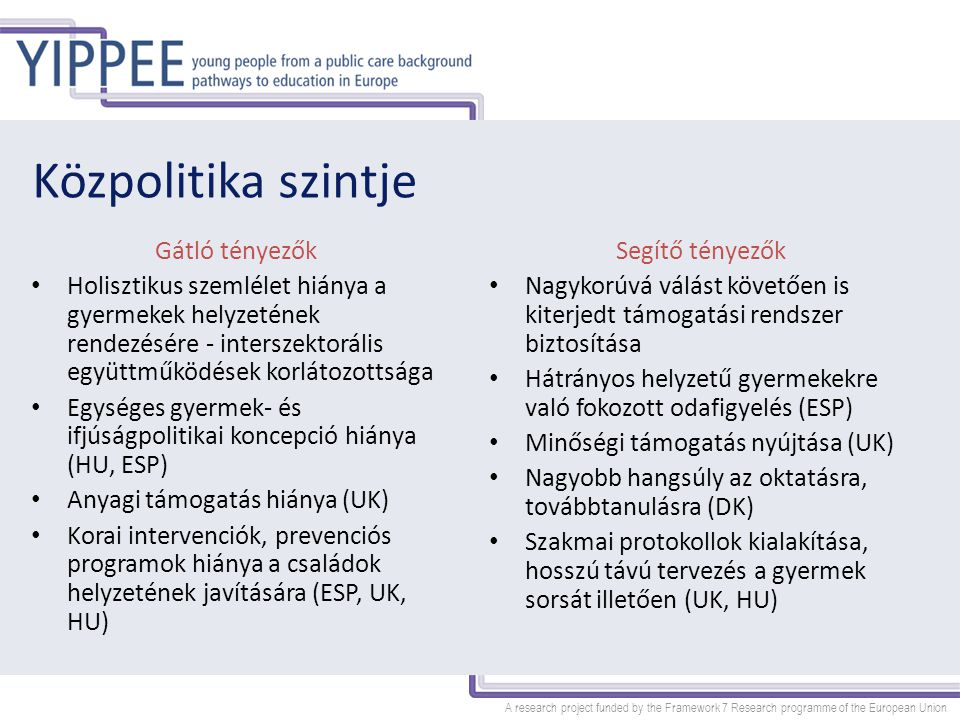 A research project funded by the Framework 7 Research programme of the European Union Halljuk a fiatalok hangját!