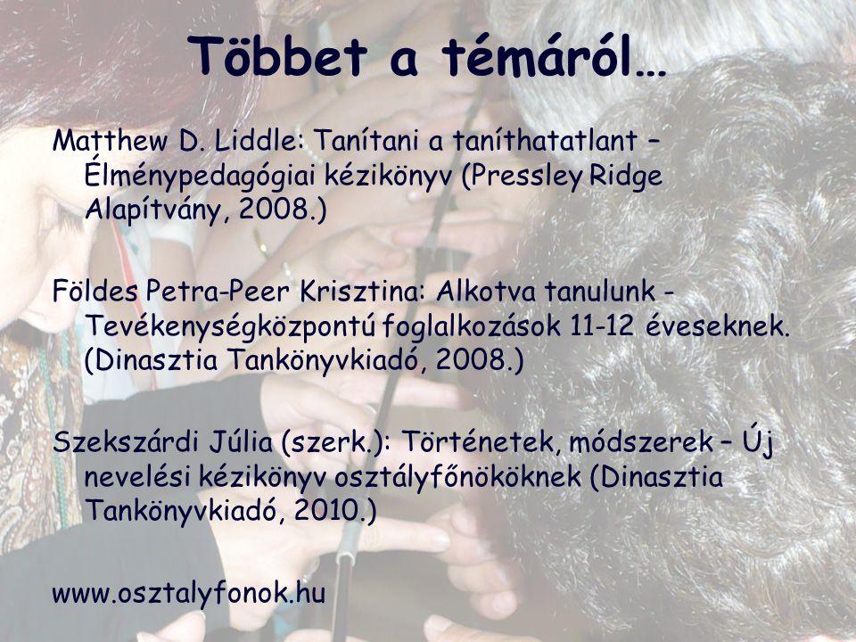 Többet a témáról… Matthew D. Liddle: Tanítani a taníthatatlant – Élménypedagógiai kézikönyv (Pressley Ridge Alapítvány, 2008.) Földes Petra-Peer Krisz