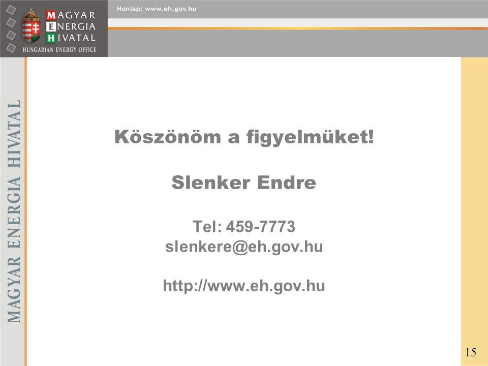 Köszönöm a figyelmüket! Slenker Endre Tel: 459-7773 slenkere@eh.gov.hu http://www.eh.gov.hu 15