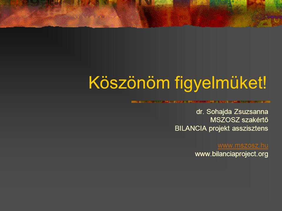 Köszönöm figyelmüket! dr. Sohajda Zsuzsanna MSZOSZ szakértő BILANCIA projekt asszisztens www.mszosz.hu www.bilanciaproject.org