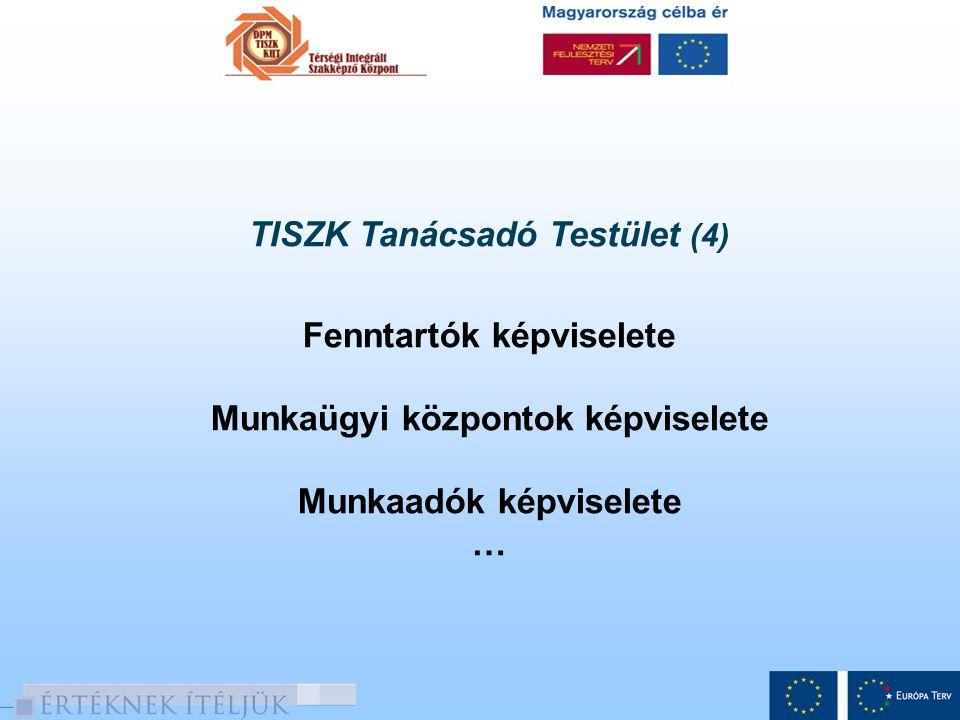 TISZK Tanácsadó Testület (4) Fenntartók képviselete Munkaügyi központok képviselete Munkaadók képviselete …