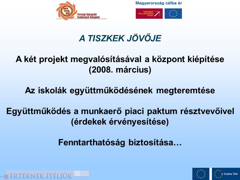 A TISZKEK JÖVŐJE A két projekt megvalósításával a központ kiépítése (2008. március) Az iskolák együttműködésének megteremtése Együttműködés a munkaerő