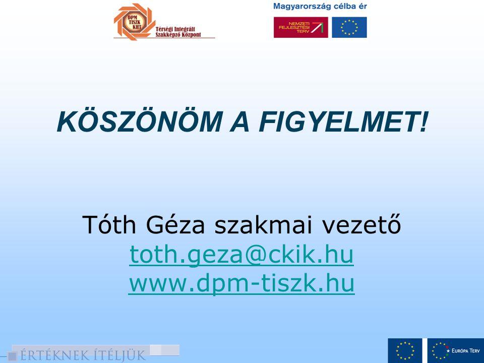KÖSZÖNÖM A FIGYELMET! Tóth Géza szakmai vezető toth.geza@ckik.hu www.dpm-tiszk.hu toth.geza@ckik.hu www.dpm-tiszk.hu