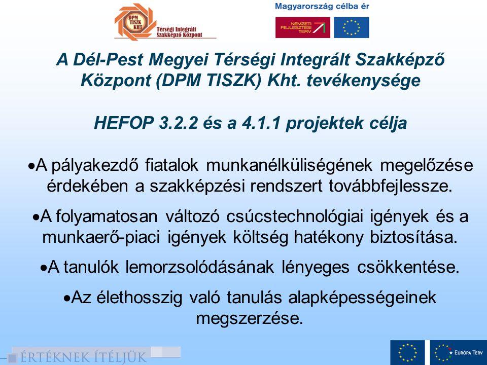 A Dél-Pest Megyei Térségi Integrált Szakképző Központ (DPM TISZK) Kht. tevékenysége HEFOP 3.2.2 és a 4.1.1 projektek célja  A pályakezdő fiatalok mun