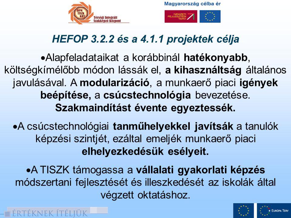HEFOP 3.2.2 és a 4.1.1 projektek célja  A tanárok, oktatók továbbképzésével, az új oktatási, minőségbiztosítási és szervezetfejlesztési módszerek bevezetésével és folyamatos alkalmazásával járuljon hozzá a magas színvonalú oktató munkához.