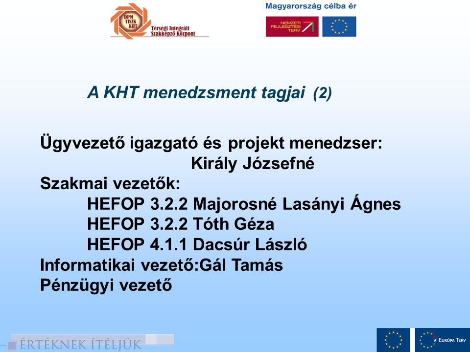 A KHT menedzsment tagjai (2) Ügyvezető igazgató és projekt menedzser: Király Józsefné Szakmai vezetők: HEFOP 3.2.2 Majorosné Lasányi Ágnes HEFOP 3.2.2