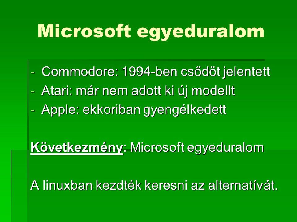 Microsoft egyeduralom -Commodore: 1994-ben csődöt jelentett -Atari: már nem adott ki új modellt -Apple: ekkoriban gyengélkedett Következmény: Microsoft egyeduralom A linuxban kezdték keresni az alternatívát.