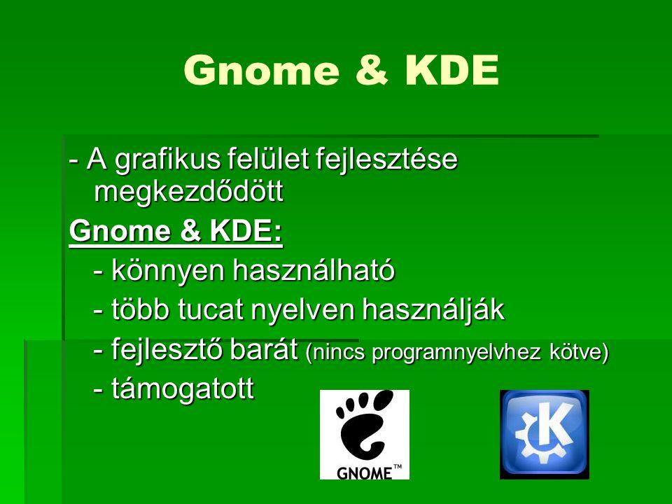 Gnome & KDE - A grafikus felület fejlesztése megkezdődött Gnome & KDE: - könnyen használható - könnyen használható - több tucat nyelven használják - több tucat nyelven használják - fejlesztő barát (nincs programnyelvhez kötve) - fejlesztő barát (nincs programnyelvhez kötve) - támogatott - támogatott
