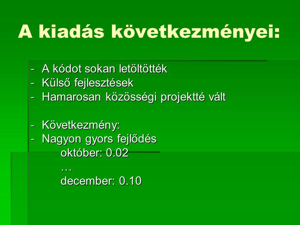 A kiadás következményei: -A kódot sokan letöltötték -Külső fejlesztések -Hamarosan közösségi projektté vált -Következmény: -Nagyon gyors fejlődés október: 0.02 … december: 0.10