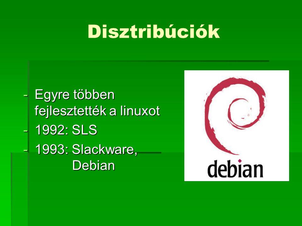Disztribúciók -Egyre többen fejlesztették a linuxot -1992: SLS -1993: Slackware, Debian