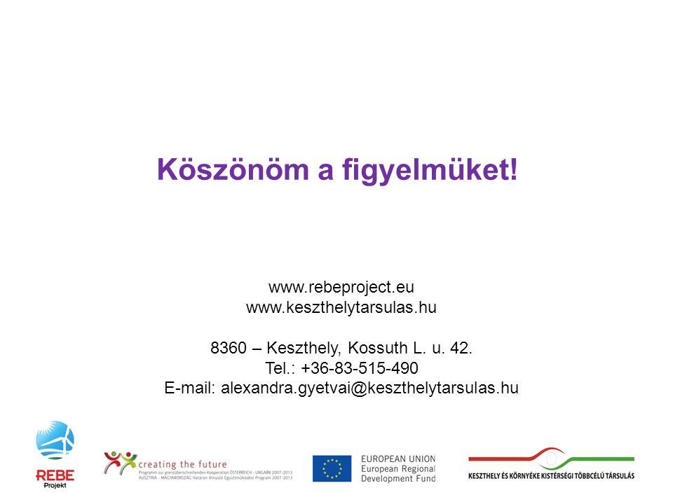 Köszönöm a figyelmüket. www.rebeproject.eu www.keszthelytarsulas.hu 8360 – Keszthely, Kossuth L.