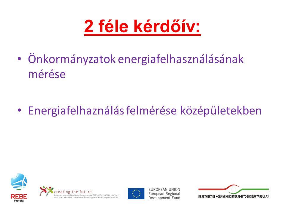 2 féle kérdőív: Önkormányzatok energiafelhasználásának mérése Energiafelhaználás felmérése középületekben