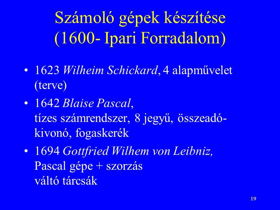 19 Számoló gépek készítése (1600- Ipari Forradalom) 1623 Wilheim Schickard, 4 alapművelet (terve) 1642 Blaise Pascal, tízes számrendszer, 8 jegyű, összeadó- kivonó, fogaskerék 1694 Gottfried Wilhem von Leibniz, Pascal gépe + szorzás váltó tárcsák