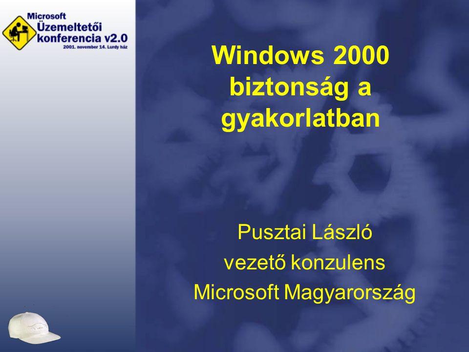 Windows 2000 biztonság a gyakorlatban Pusztai László vezető konzulens Microsoft Magyarország
