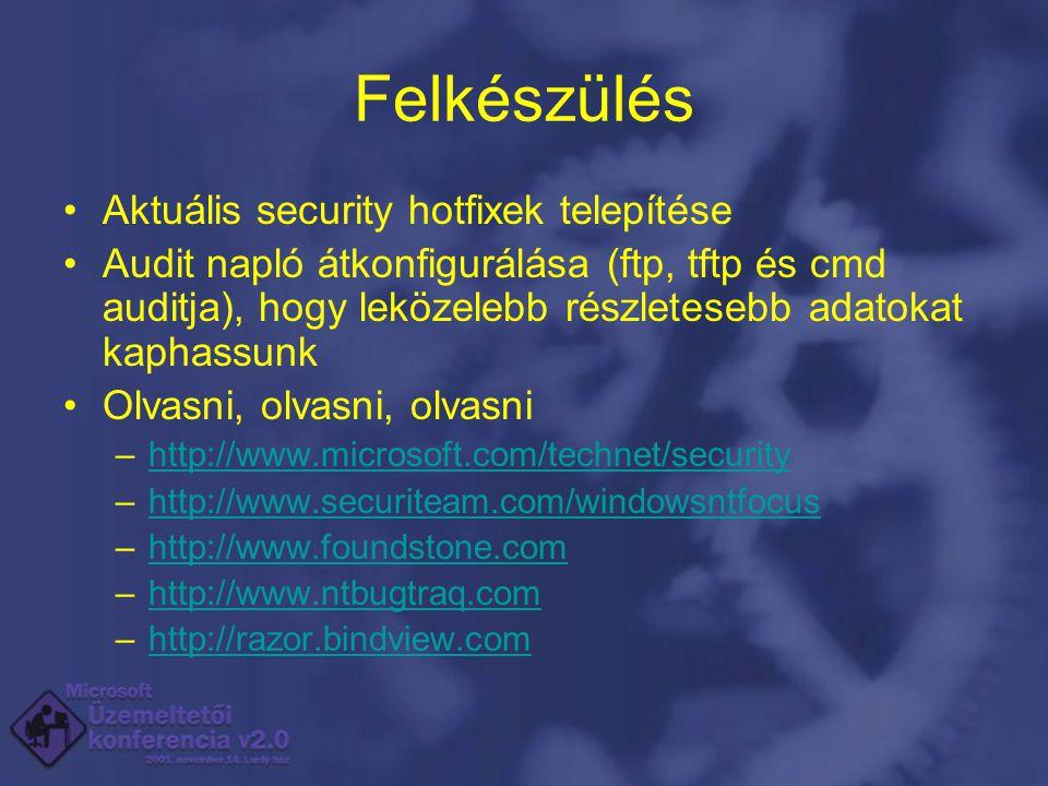 Felkészülés Aktuális security hotfixek telepítése Audit napló átkonfigurálása (ftp, tftp és cmd auditja), hogy leközelebb részletesebb adatokat kaphassunk Olvasni, olvasni, olvasni –http://www.microsoft.com/technet/securityhttp://www.microsoft.com/technet/security –http://www.securiteam.com/windowsntfocushttp://www.securiteam.com/windowsntfocus –http://www.foundstone.comhttp://www.foundstone.com –http://www.ntbugtraq.comhttp://www.ntbugtraq.com –http://razor.bindview.comhttp://razor.bindview.com