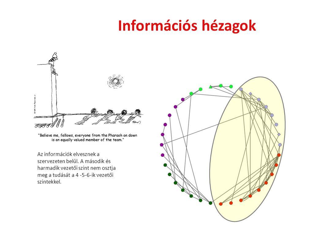 Információs hézagok Az információk elvesznek a szervezeten belül. A második és harmadik vezetői szint nem osztja meg a tudását a 4 -5-6-ik vezetői szi
