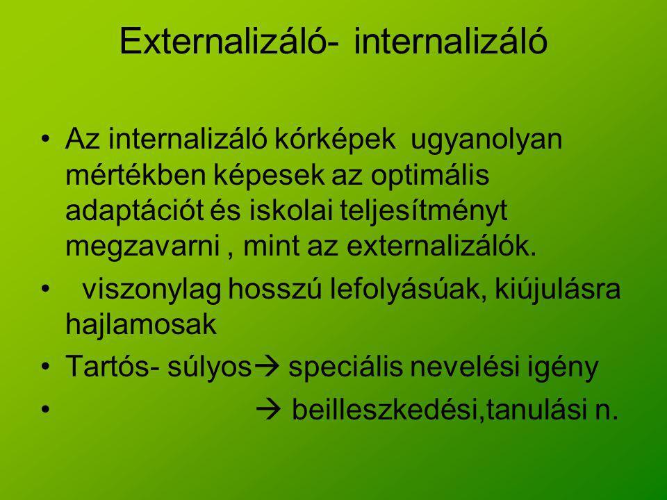 Externalizáló- internalizáló Az internalizáló kórképek ugyanolyan mértékben képesek az optimális adaptációt és iskolai teljesítményt megzavarni, mint