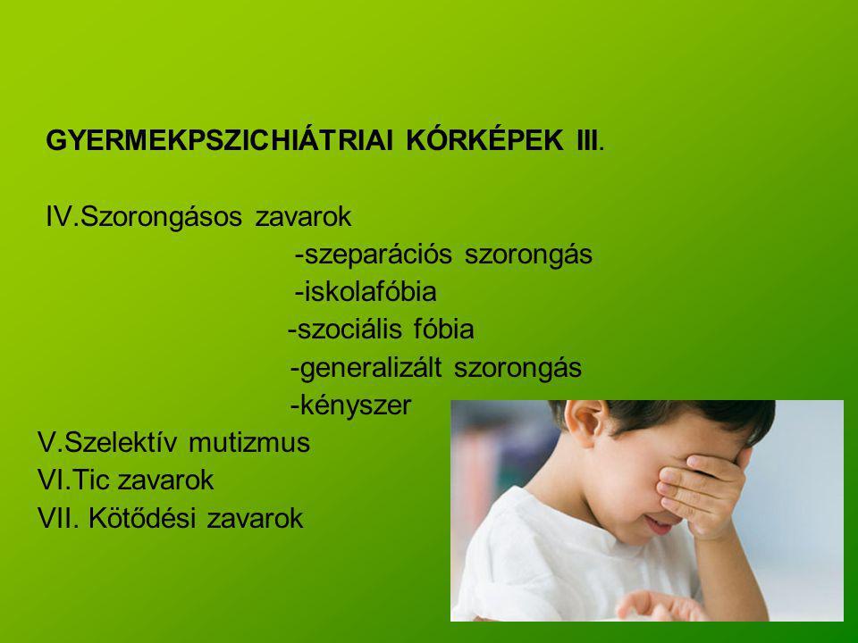 GYERMEKPSZICHIÁTRIAI KÓRKÉPEK III. IV.Szorongásos zavarok -szeparációs szorongás -iskolafóbia -szociális fóbia -generalizált szorongás -kényszer V.Sze