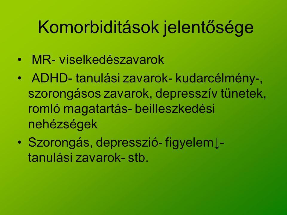 Komorbiditások jelentősége MR- viselkedészavarok ADHD- tanulási zavarok- kudarcélmény-, szorongásos zavarok, depresszív tünetek, romló magatartás- bei