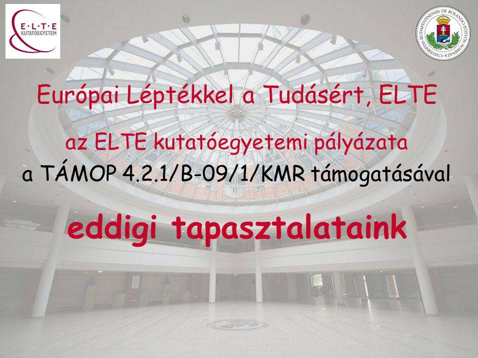 Európai Léptékkel a Tudásért, ELTE az ELTE kutatóegyetemi pályázata a TÁMOP 4.2.1/B-09/1/KMR támogatásával eddigi tapasztalataink