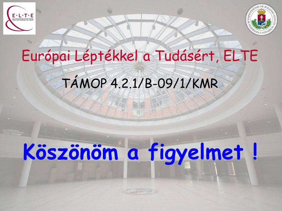 Köszönöm a figyelmet ! Európai Léptékkel a Tudásért, ELTE TÁMOP 4.2.1/B-09/1/KMR
