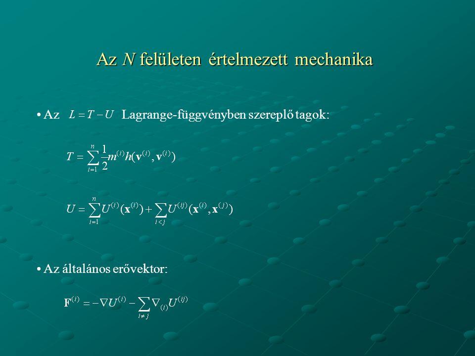 Az N felületen értelmezett mechanika Az Lagrange-függvényben szereplő tagok: Az általános erővektor: