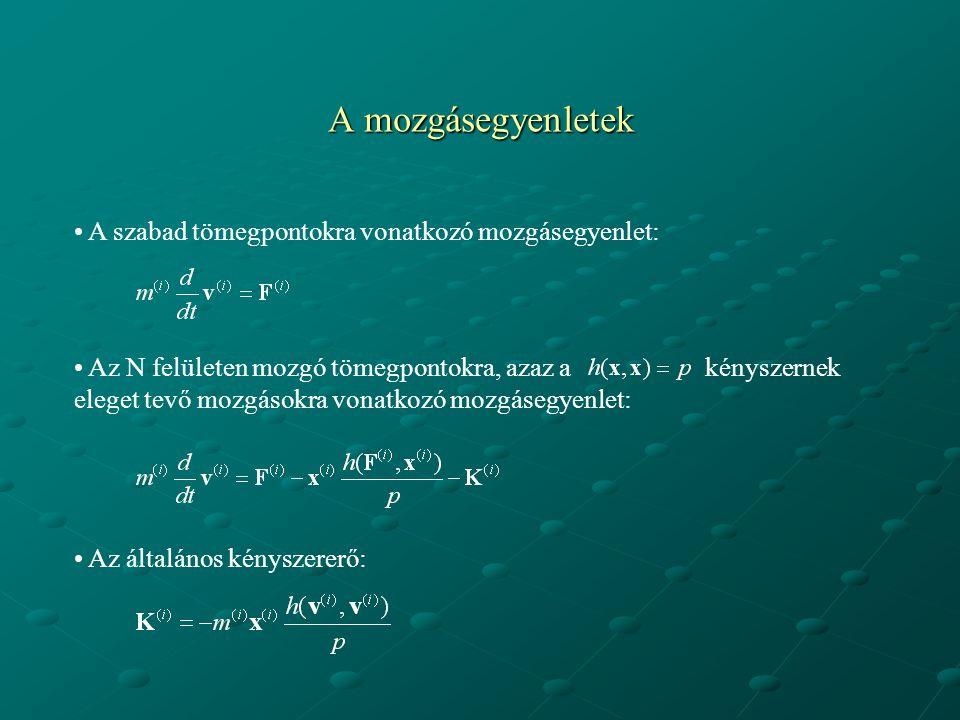 A mozgásegyenletek A szabad tömegpontokra vonatkozó mozgásegyenlet: Az N felületen mozgó tömegpontokra, azaz a kényszernek eleget tevő mozgásokra vona