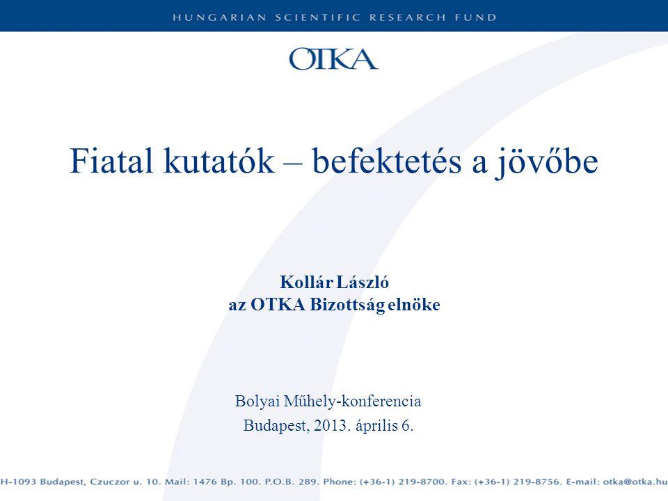 Fiatal kutatók – befektetés a jövőbe Kollár László az OTKA Bizottság elnöke Bolyai Műhely-konferencia Budapest, 2013.