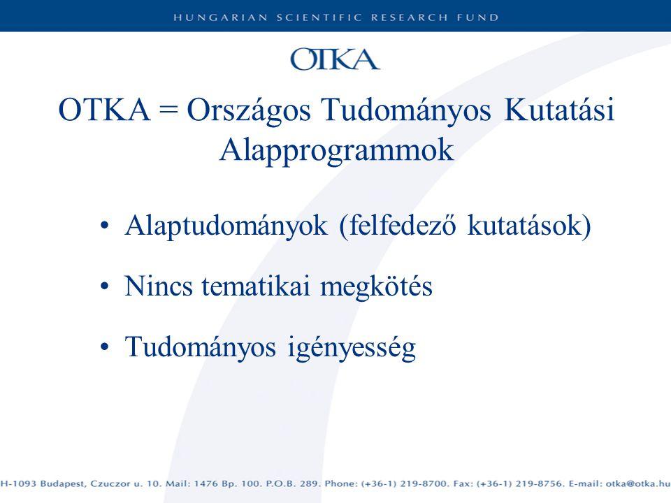 OTKA = Országos Tudományos Kutatási Alapprogrammok Alaptudományok (felfedező kutatások) Nincs tematikai megkötés Tudományos igényesség