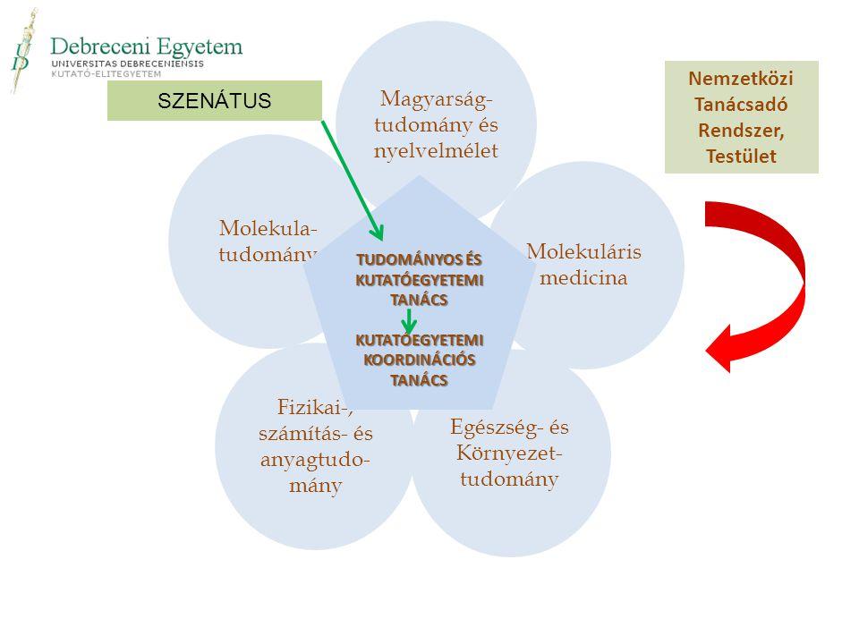 Molekula- tudomány Fizikai-, számítás- és anyagtudo- mány Egészség- és Környezet- tudomány Molekuláris medicina Magyarság- tudomány és nyelvelmélet Nemzetközi Tanácsadó Rendszer, Testület TUDOMÁNYOS ÉS KUTATÓEGYETEMI TANÁCS KUTATÓEGYETEMI KOORDINÁCIÓS TANÁCS SZENÁTUS