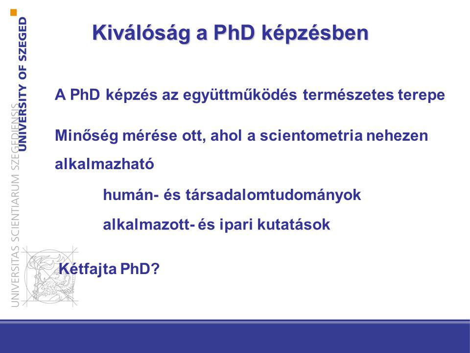 Kiválóság a PhD képzésben A PhD képzés az együttműködés természetes terepe Minőség mérése ott, ahol a scientometria nehezen alkalmazható humán- és társadalomtudományok alkalmazott- és ipari kutatások Kétfajta PhD?