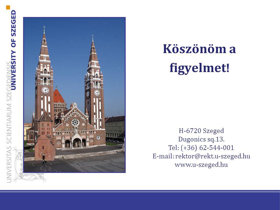 Köszönöm a figyelmet . H-6720 Szeged Dugonics sq.13.