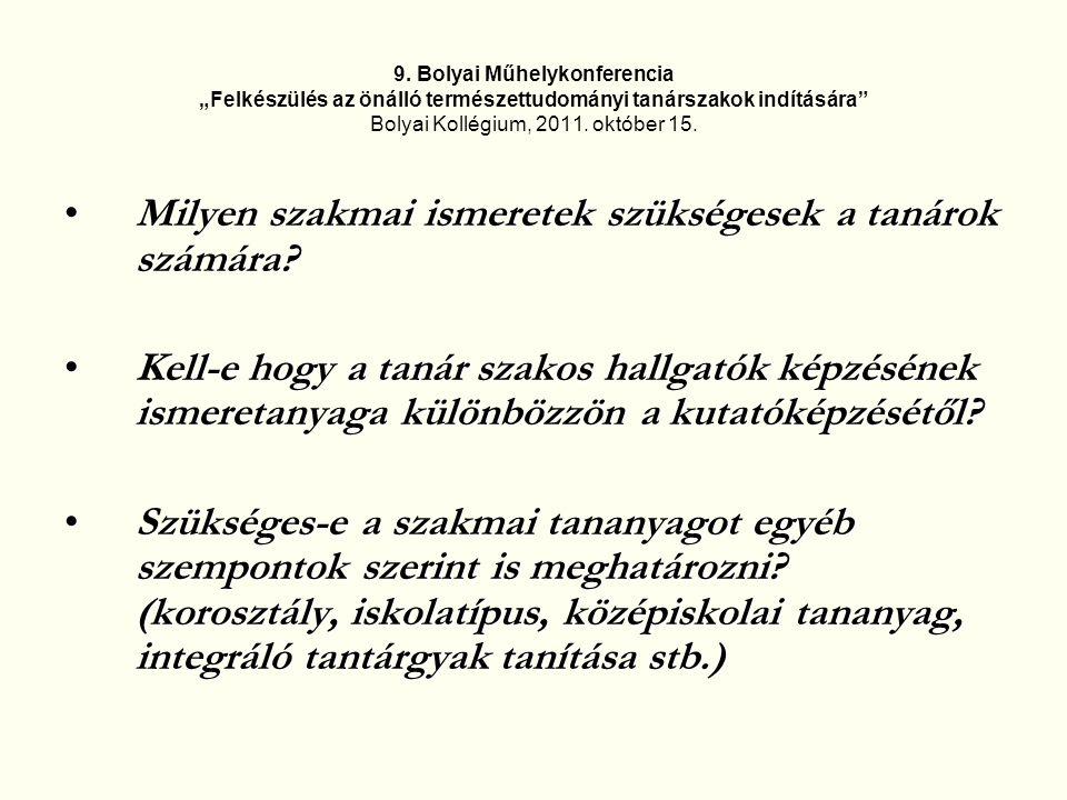 """9. Bolyai Műhelykonferencia """"Felkészülés az önálló természettudományi tanárszakok indítására"""" Bolyai Kollégium, 2011. október 15. Milyen szakmai ismer"""