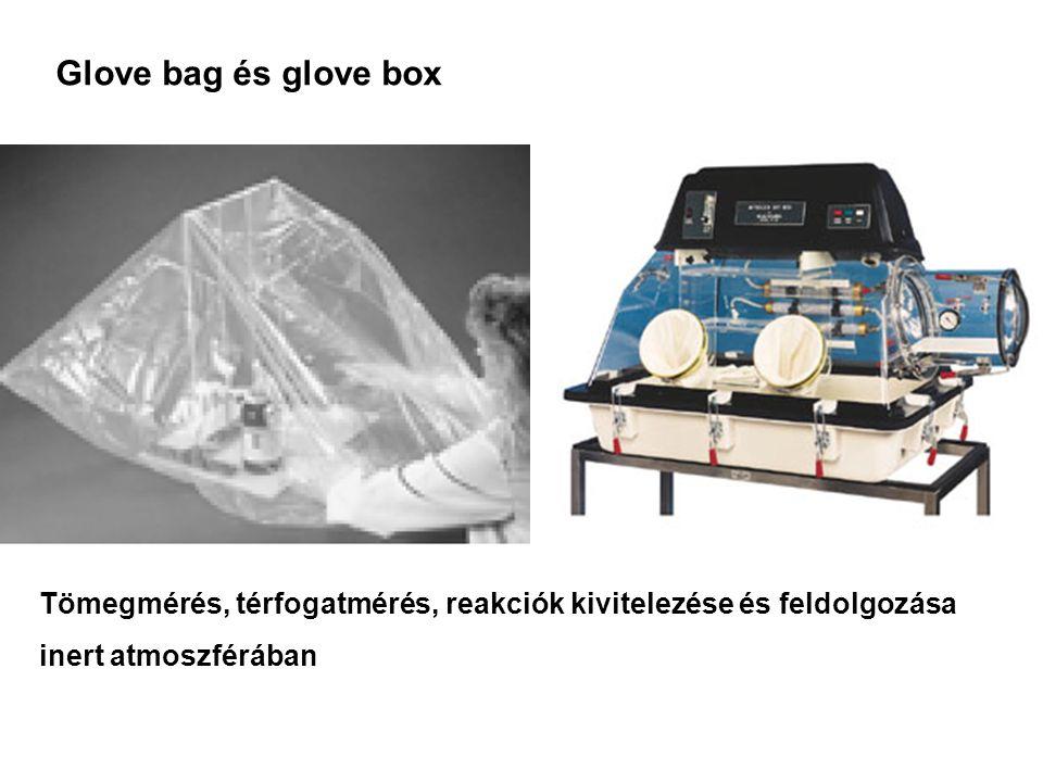 Glove bag és glove box Tömegmérés, térfogatmérés, reakciók kivitelezése és feldolgozása inert atmoszférában