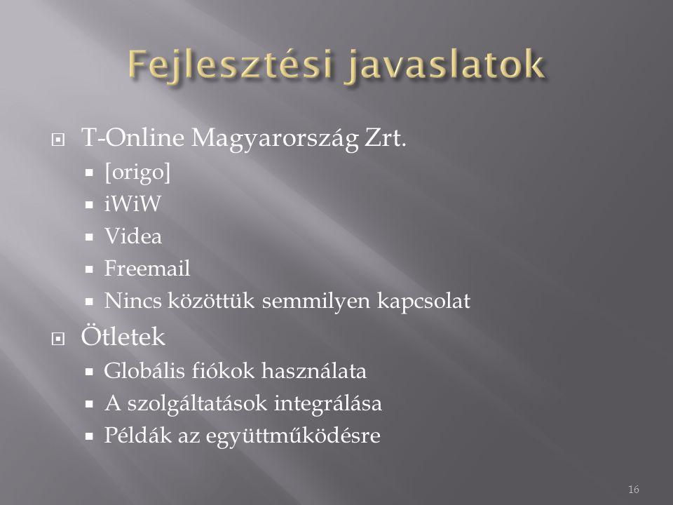  T-Online Magyarország Zrt.  [origo]  iWiW  Videa  Freemail  Nincs közöttük semmilyen kapcsolat  Ötletek  Globális fiókok használata  A szolg