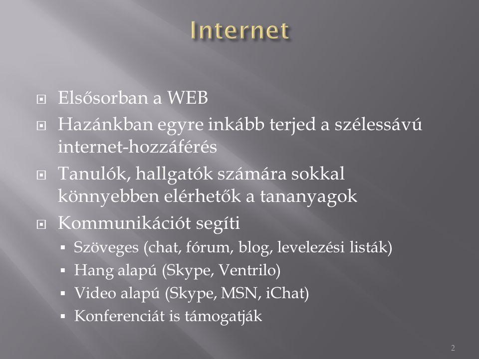  Elsősorban a WEB  Hazánkban egyre inkább terjed a szélessávú internet-hozzáférés  Tanulók, hallgatók számára sokkal könnyebben elérhetők a tananyagok  Kommunikációt segíti  Szöveges (chat, fórum, blog, levelezési listák)  Hang alapú (Skype, Ventrilo)  Video alapú (Skype, MSN, iChat)  Konferenciát is támogatják 2