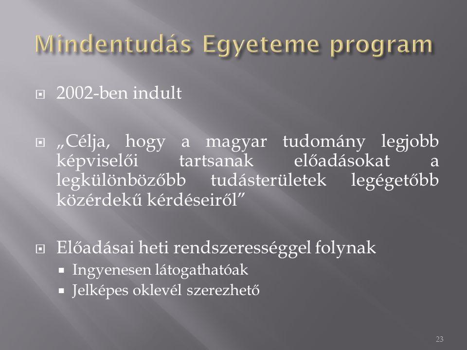 """ 2002-ben indult  """"Célja, hogy a magyar tudomány legjobb képviselői tartsanak előadásokat a legkülönbözőbb tudásterületek legégetőbb közérdekű kérdéseiről  Előadásai heti rendszerességgel folynak  Ingyenesen látogathatóak  Jelképes oklevél szerezhető 23"""