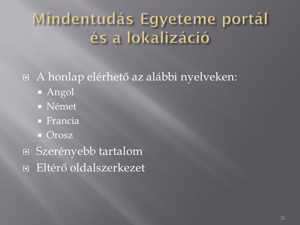  A honlap elérhető az alábbi nyelveken:  Angol  Német  Francia  Orosz  Szerényebb tartalom  Eltérő oldalszerkezet 28