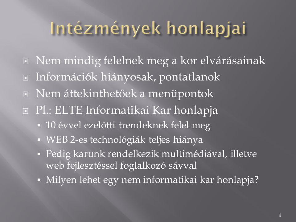  Nem mindig felelnek meg a kor elvárásainak  Információk hiányosak, pontatlanok  Nem áttekinthetőek a menüpontok  Pl.: ELTE Informatikai Kar honlapja  10 évvel ezelőtti trendeknek felel meg  WEB 2-es technológiák teljes hiánya  Pedig karunk rendelkezik multimédiával, illetve web fejlesztéssel foglalkozó sávval  Milyen lehet egy nem informatikai kar honlapja.