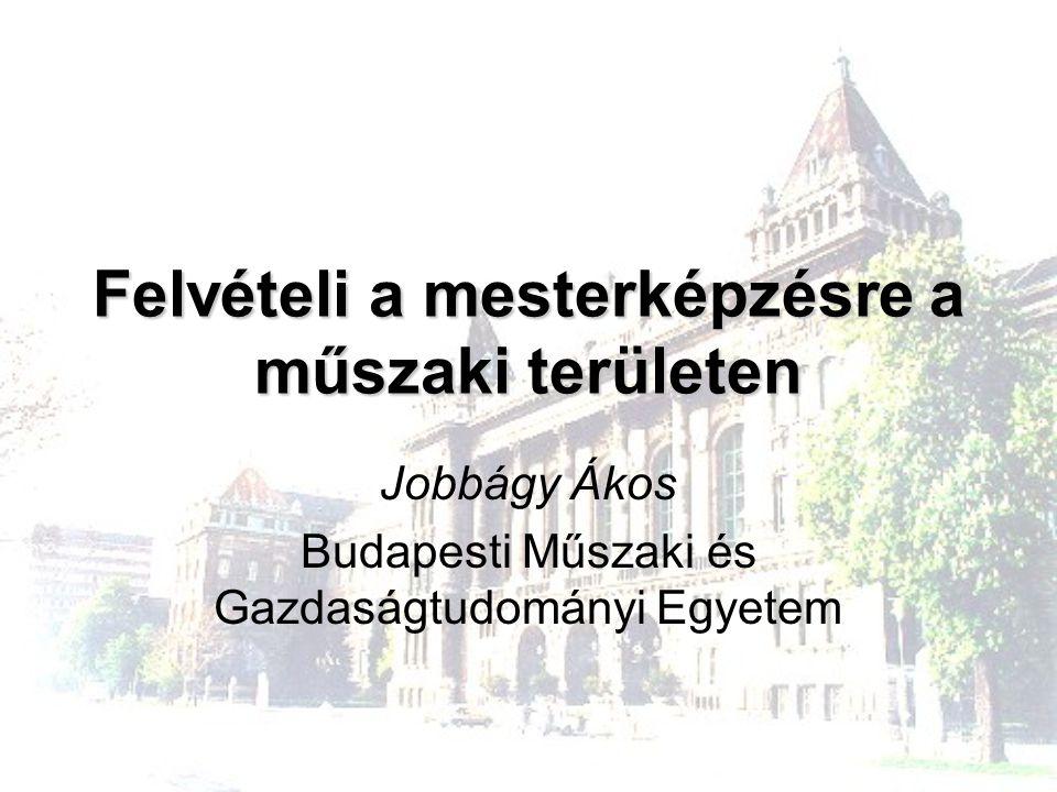 Felvételi a mesterképzésre a műszaki területen Jobbágy Ákos Budapesti Műszaki és Gazdaságtudományi Egyetem